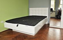 Łóżko jednoosobowe Bianco Terra zpojemnikiem na pościel
