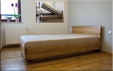 Łóżko Verona lity dąb zpojemnikiem na pościel - luty 2016